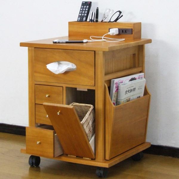 収納ワゴン ベッドサイドワゴン 桐製 幅43cm ( 送料無料 サイドテーブル テーブルワゴン 収納用品 木製 )