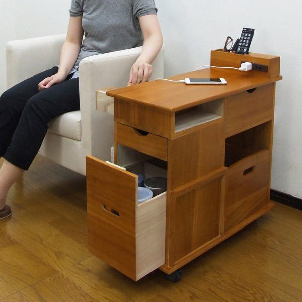 収納ワゴン ソファサイドワゴン 桐製 幅33cm ( 送料無料 サイドテーブル テーブルワゴン 収納用品 木製 )