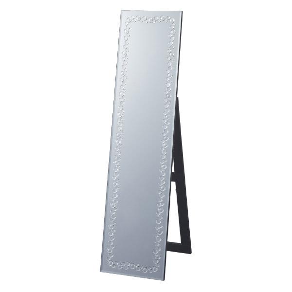 スタンドミラー 姿見 クリスタル模様 幅38cm ( 送料無料 全身鏡 鏡 全身ミラー おしゃれ ミラー スタンディングミラー クリスタル風 姫系 ディスプレイ スタイリッシュ ゴージャス )