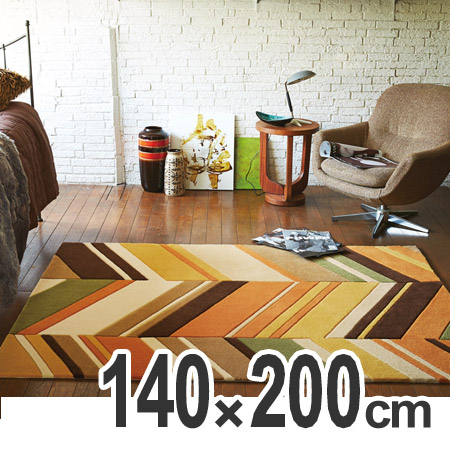 ラグ 幾何柄レトロパターン 140×200cm ( 送料無料 ラグマット 床暖房対応 センターラグ リビング オレンジ )
