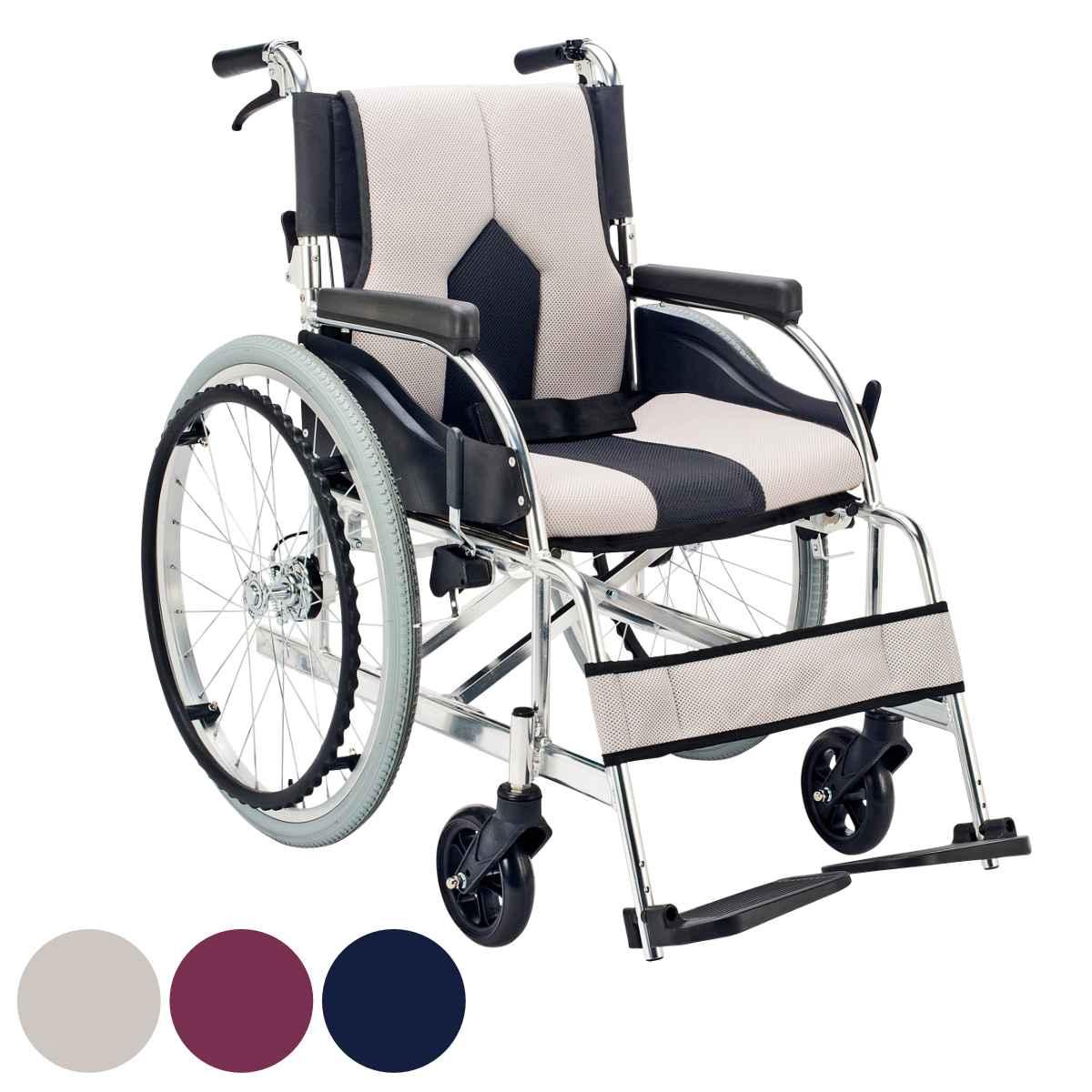 アルミ製車いす カラーズ 自走式背折れ型 ライトグレー 非課税 ( 送料無料 車イス 車椅子 )