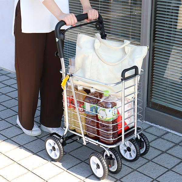 シルバーカー 折りたたみ式 ノーブルワゴンL ( 送料無料 ショッピングカート マキライフテック 大容量収納 台車 キャリーカート カゴ付き アルミ 買い物 )