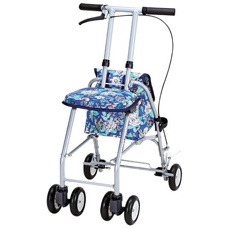 シルバーカー おでかけウォーク パート2 青花柄 ( 送料無料 コンパクトタイプ 軽量 ショッピングカート )