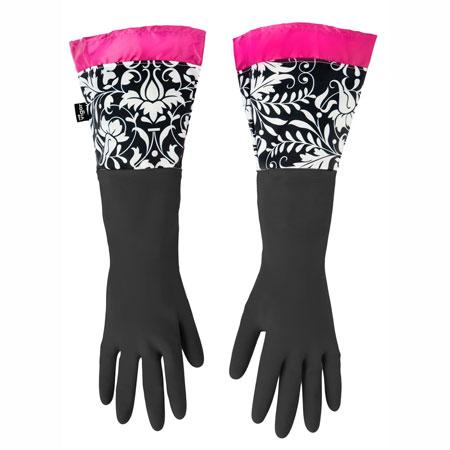Vigar ( bigger ) Rococo rubber gloves gloves long PRINTS ( for gloves and floral kitchen kitchen gloves kitchenware pun )