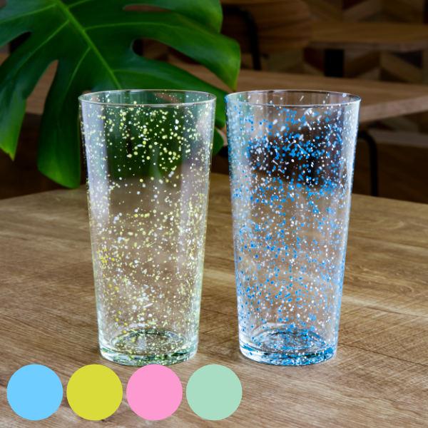 星屑のような模様が涼しげなグラス タンブラー L 400ml ガラス スプラッシュ コップ 食器 ブルー ガラスタンブラー ガラス製 出群 大きい おしゃれ ガラス食器 大容量 返品送料無料 グラス 大きめ 夏 ガラスコップ