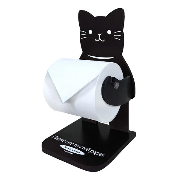 ネコのかわいい置型ロールペーパーホルダー トイレットペーパーホルダー ネコ ( トイレットペーパー ホルダー 卓上 ロールペーパーホルダー ロールペーパースタンド 猫 黒猫 ペット 洗面所 リビング 玄関 )