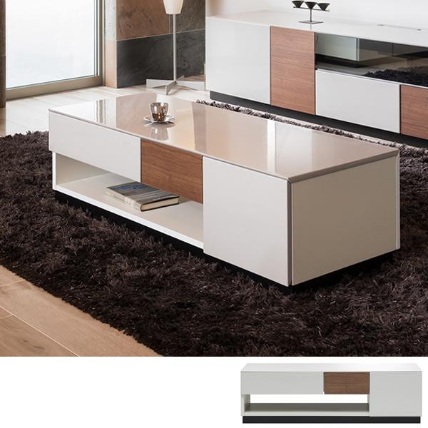 ローテーブル リビングテーブル ブロックデザイン SQUARE ブラウン 幅120cm ( 送料無料 テーブル 収納 引き出し センターテーブル ホワイト シンプル 高級感 おしゃれ 長方形 ブラウン 完成品 開梱設置 リビング かっこいい )