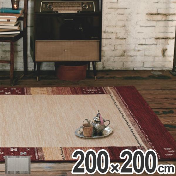 ラグ カーペット シェール 200×200 ( 送料無料 ラグマット 絨毯 じゅうたん ホットカーペット対応 床暖房 マット エスニック モダン カジュアル )