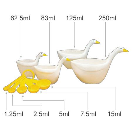 量杯量杯鹅型主流环茶杯&匙子安排(量匙量匙塑料制造鹅厨房工具厨房用品)