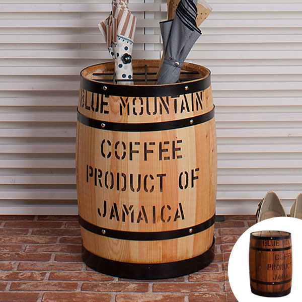 傘立て アンブレラスタンド コーヒー樽 ヒノキ製 高さ43.5cm ( 送料無料 インテリア 傘置き 木製 樽型 バレル 玄関 傘入れ おしゃれ かさたて 国産 天然木 店舗什器 )
