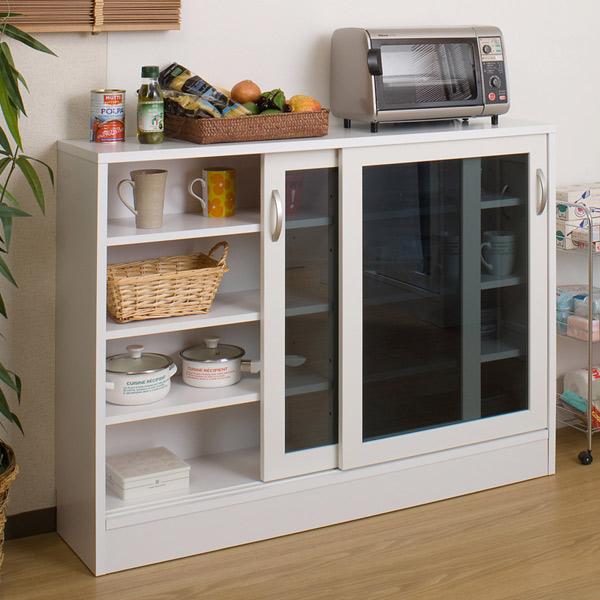 Livingut Counter Bottom Storage Glass Sliding Door Cabinet Width