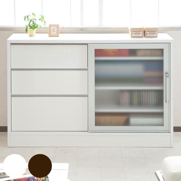 Livingut Counter Under Storage Aluminum Frame Cabinet Sliding Door