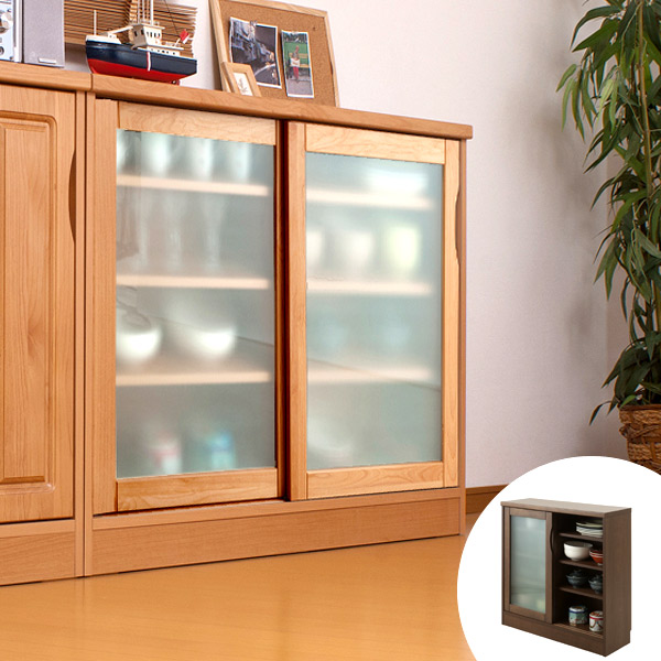 Counter Under Storage Natural Wood Alder Glass Sliding Doors Completed  Width 90 Cm ( Tableware Shelf ...