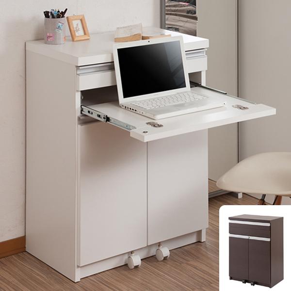 パソコンデスク PCデスク キャビネット型 スタイリッシュ 幅60cm ( 送料無料 完成品 日本製 国産 幅60センチ デスク キャビネット シンプル スタイリッシュ ベーシック リビング キャビネット 白 茶 )