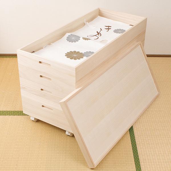 桐 衣装ケース 4段 キャスター付 日本製 高さ55cm ( 送料無料 完成品 桐衣装箱 天然木 木製 衣類収納 着物収納 収納 キャスター 蓋つき フタ付き 四段 ケース ボックス 収納ケース 着物 衣類 着物用 )