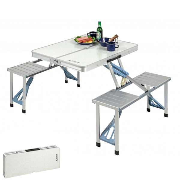 ピクニックテーブル アルミ製 4人用 テーブル・チェア一体型 折り畳み式 ( 送料無料 ファミリーテーブル アウトドアテーブル 持ち運び 簡易テーブル コンパクト アウトドア バーベキュー 折りたたみテーブル )