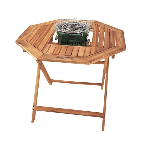 ガーデンテーブル 折りたたみテーブル 木製 8角形 ( 送料無料 木製台 テーブル アウトドア バーベキューテーブル 木製テーブル BBQ 机 天然木 )
