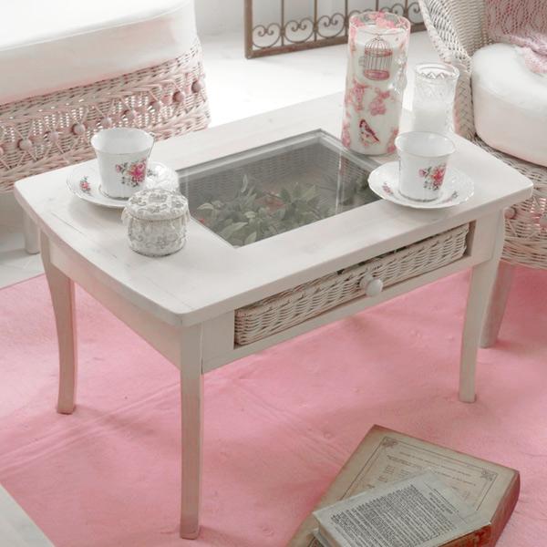 ローテーブル ラタン 引出し付 fiore 幅65cm ( 送料無料 木製 天然木 アジアン家具 白家具 姫系 テーブル ガラス天板 コンソールテーブル ディスプレイ 白 ホワイトウォッシュ 大人かわいい ガーリーテイスト フェミニン ロマンティック )