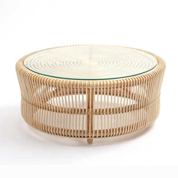 籐 ラタン ローテーブル ( 送料無料 テーブル 籐家具 丸テーブル 籐製 ガラス天板 アジアン家具 座卓 ラタンフレーム )