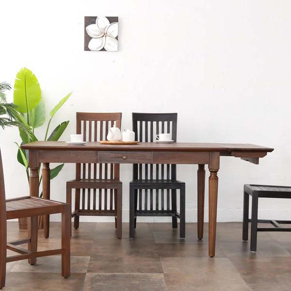 ダイニングテーブル チーク材 引出し付 アジアンテイスト 幅135cm ( 送料無料 テーブル table 机 チーク 木製 食卓 ナチュラル 北欧 カフェ おしゃれ アンティーク 引出し )