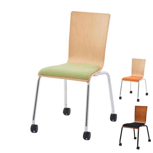 オフィスチェア プライウッドキャスターチェア パッド付 シンプル チェア イス オフィス用 ( 送料無料 オフィス スタッキング スタッキングチェア チェアー 会議椅子 ミーティングチェア オフィス家具 椅子 キャスター )