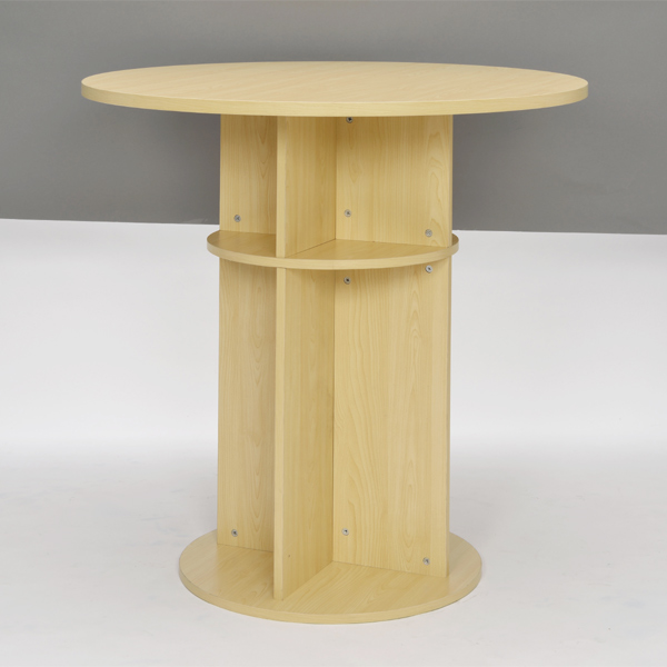 ラウンドテーブル スチール製 木目調 ハイテーブル リフレッシュ 直径100cm ( 送料無料 テーブル カフェテーブル 丸型 円形 おしゃれ シンプル オフィス カフェ スタンディング バーテーブル サイドテーブル ラウンド 家具 )