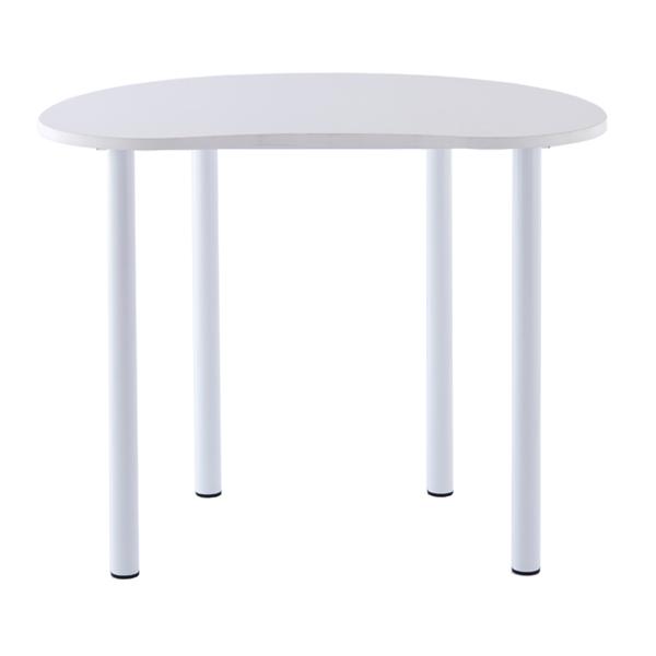 カウンターテーブル スチール製 ビーンズハイテーブル 幅120cm ( 送料無料 テーブル ビーンズ ハイタイプ オフィス 机 豆型 作業台 豆 かわいい 白 ホワイト サイドテーブル カフェ 事務所 パソコン PC )