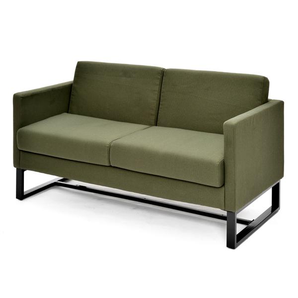 オフィスソファ 2人掛け スクエアソファー ファブリック 幅132cm ( 送料無料 ソファ 応接室 オフィス家具 ソファー 肘掛け付き グリーン 緑 おすすめ 2人用 二人用 椅子 チェア アームチェア ひとり掛け アーム付き シンプル )