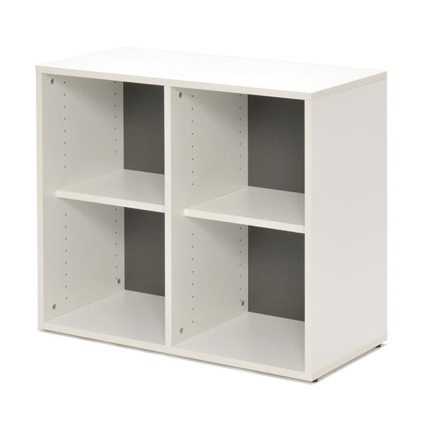 シェルフ 2列2段 格子型 プリーマ 幅80cm  ( 送料無料 ラック 棚 書庫 収納家具 ファイル棚 格子 本棚 カルテラック 80センチ ダークグレー グレー ホワイト 白 )