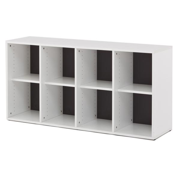 シェルフ 4列2段 格子型 プリーマ 約幅159cm  ( 送料無料 ラック 棚 書庫 収納家具 ファイル棚 格子 本棚 カルテラック 160センチ ダークグレー グレー ホワイト 白 )