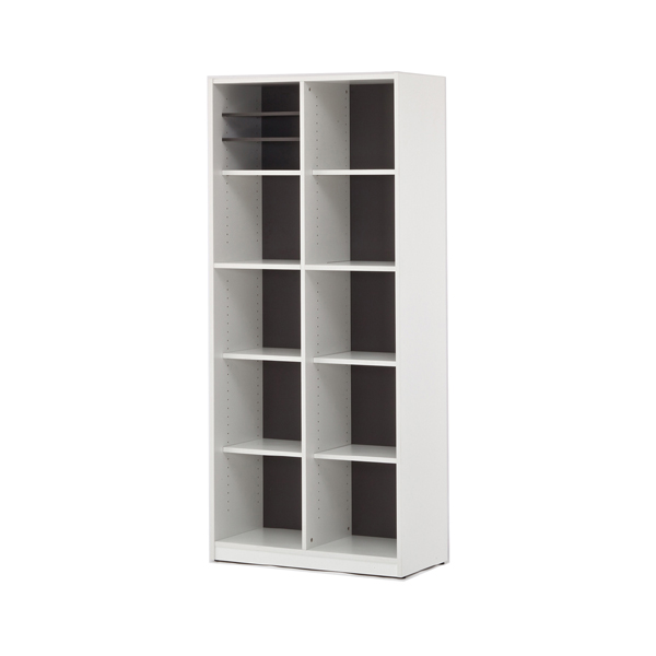 シェルフ 2列5段 ファイルラック 格子型 プリーマ 幅80cm ( 送料無料 ラック 棚 書庫 収納家具 ファイル棚 格子 本棚 カルテラック 80センチ ダークグレー グレー ホワイト 白 )