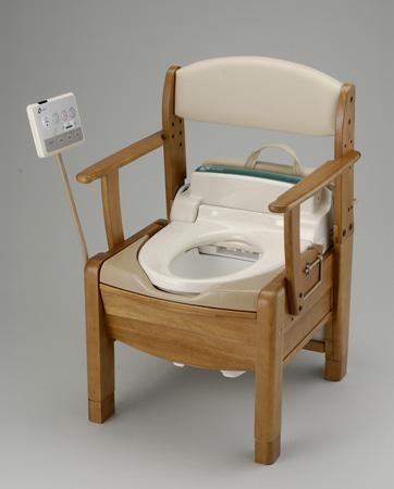 ポータブルトイレ 木製 きらく S型 固定式肘掛 送料無料 ( 介護用トイレ 福祉 介護 簡易トイレ 非常用 リッチェル 家具調 )