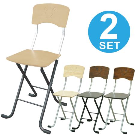 折りたたみ椅子 フォールディングチェア レイラチェア 2脚セット ( 送料無料 椅子 パソコンチェア チェアー 背もたれ付き パイプ椅子 イス 木製 )