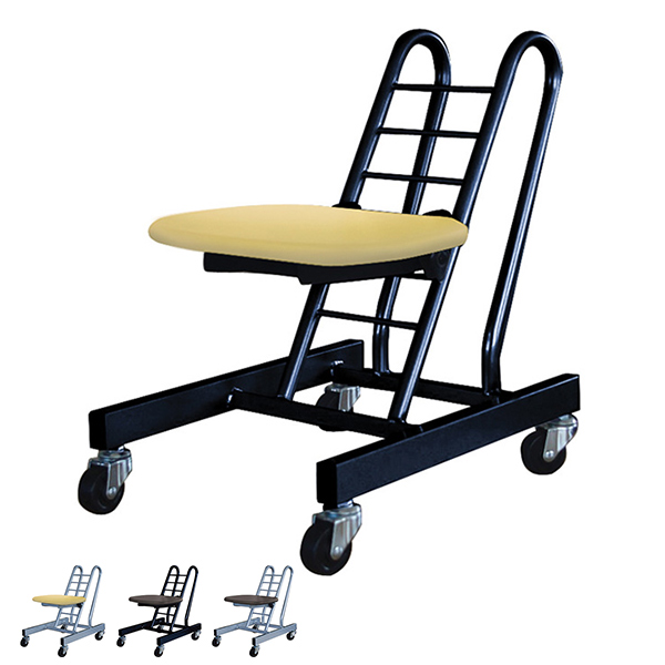 プロワークチェア キャスター付き ムーブスマート 木製シート ( 送料無料 作業椅子 チェアー 作業場 工房 工場 イス 座面高さ調節 業務用品 )