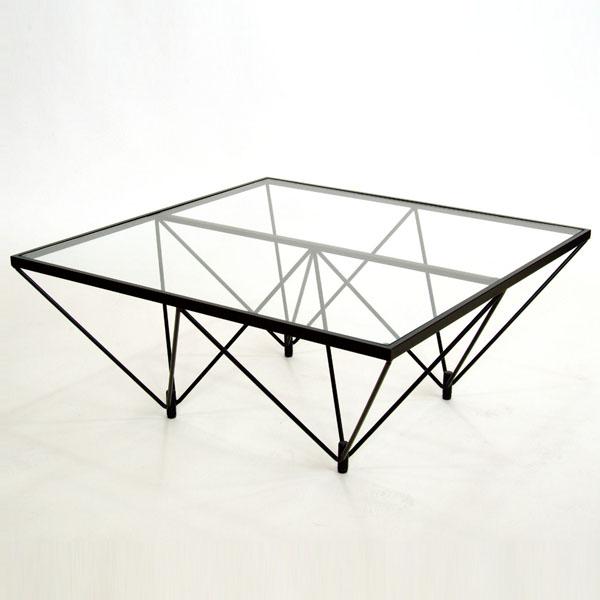 ガラステーブル ロータイプ 80cm角型 ( 送料無料 センターテーブル リビングテーブル ローテーブル 机 デスク ワイヤー )