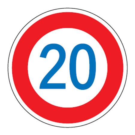路面道路標識 「速度制限20K」 強力粘着テープ付き 軟質エンビタイプ ( 送料無料 安全標識 シール )