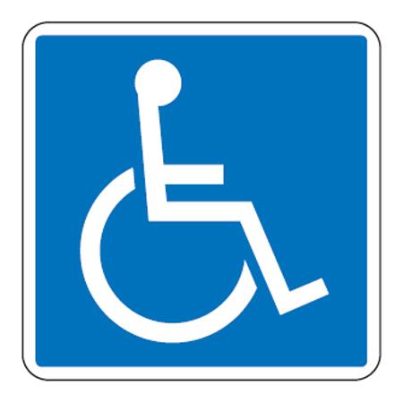 路面道路標識 「車いす」 駐車場 身障者専用 強力粘着テープ付き 軟質エンビタイプ ( 送料無料 安全標識 シール 国際シンボルマーク )