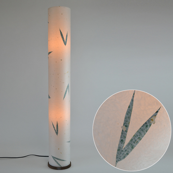 フロアライト 和紙 金箔笹 2灯 ( 送料無料 フロアスタンド 照明 スタンドライト LED フロアスタンドライト おしゃれ 照明器具 スタンド照明 中間スイッチ 間接照明 国産 日本製 )