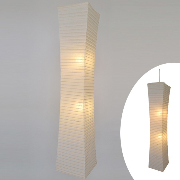 ペンダントライト 和紙 大型照明 楮紙 2灯 ( 送料無料 照明 天井 和風照明 和モダン 照明器具 2灯ペンダント LED 電気 ペンダント照明 インテリア シーリングライト 2灯式 天井高 美濃和紙 シェード )