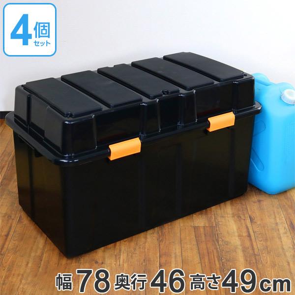 収納ボックス タフコンジャンボ TKJ-114 幅78×奥行46×高さ49cm 収納ケース フタ付き 4個セット ( 送料無料 収納 ボックス 工具箱 ケース 頑丈 丈夫 BOX スタッキング 積み重ね ふた付き プラスチック 日本製 )