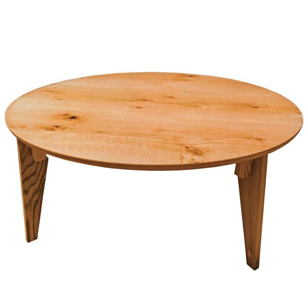 座卓 折れ脚 円卓 ローテーブル さぬき丸 ナラ節入り 直径90cm ( 送料無料 完成品 食卓 机 テーブル センターテーブル ちゃぶ台 折りたたみ 折り畳み 木目 木製 和風 和 和室 )