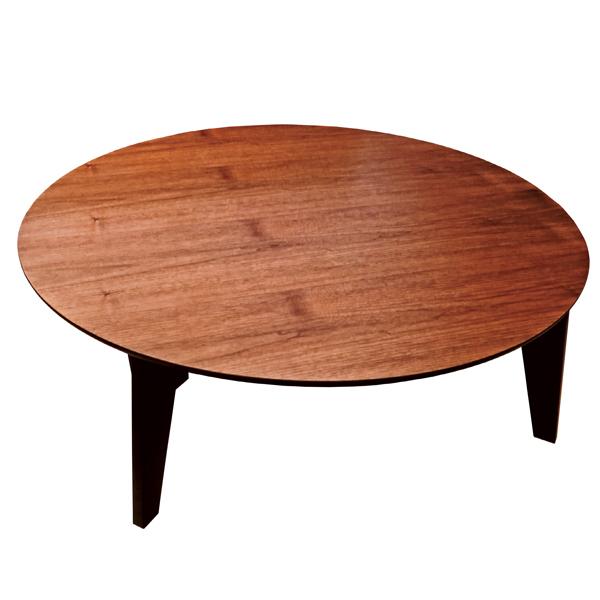 座卓 折れ脚 円卓 ローテーブル さぬき丸 ウォールナット 直径90cm ( 送料無料 完成品 食卓 机 テーブル センターテーブル ちゃぶ台 折りたたみ 折り畳み 木目 木製 和風 和 和室 )