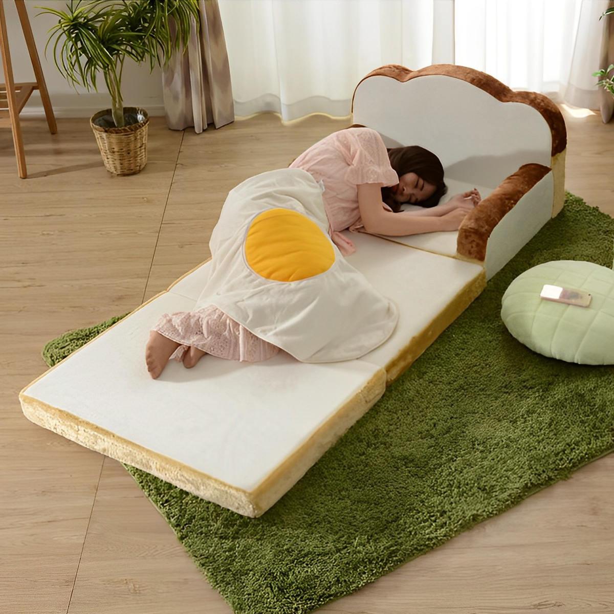 ソファーベッド 食パン型 ソファ 幅80cm ( 送料無料 食パン型ソファ 食パンソファ 2WAY パンソファ パン型 パン 食パン 低反発 日本製 )