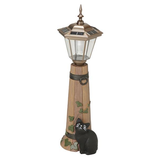 ガーデンオーナメント ソーラーライト 猫 バーレル 大 ( 送料無料 オーナメント ガーデンライト エクステリア ライト 置物 飾り ガーデン おしゃれ セトクラフト )
