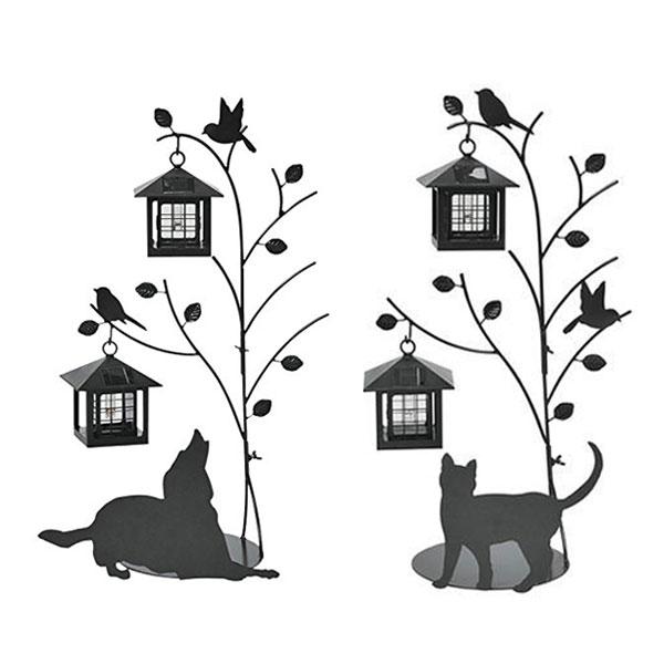 シルエットソーラー Tree&Dog Tree&Cat 2灯 ( 送料無料 ガーデンライト ソーラー 屋外 犬 ドッグ DOG 猫 ねこ CAT エクステリア 園芸 セトクラフト 電池交換式 )