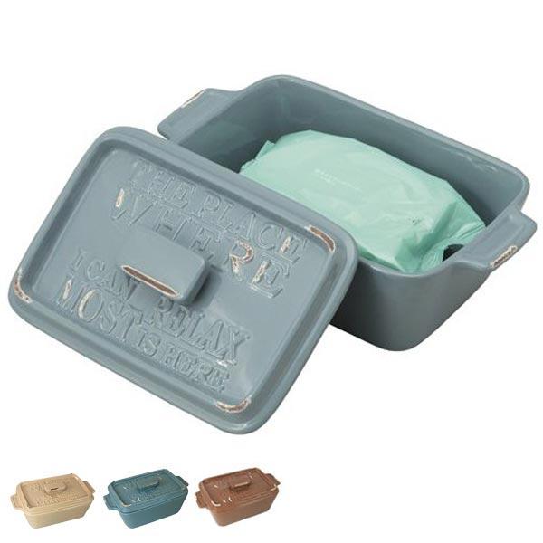 トイレ 掃除 シートケース vintage ( ウェットシートケース シート 収納 詰替え 清掃 陶器 おしゃれ アメリカンヴィンテージ )
