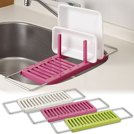 Dish Drainer Rack Telescopic Type Sink On (water Drip Drain Tray Dish Rack  Slim Dish Drainer Set Kitchen Storage Sink Next)