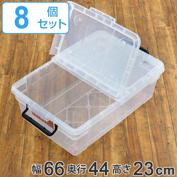 収納ボックス M-66C キャスター付き 幅65×奥行43×高さ23cm フタ付き 浅型 8個セット ( 送料無料 衣装ケース 収納 収納ケース 押入れ収納 プラスチック 収納BOX クローゼット 衣類収納 コロ付き キャスター )