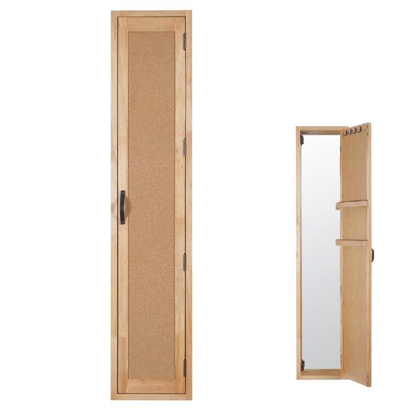 ウォールミラー POCO ( 送料無料 鏡 壁掛けミラー ミラー ドレッサー 扉 壁掛け ルームミラー 玄関 飛散防止加工 洗面所 木目 木製 一人暮らし 省スペース アクセサリー収納 )