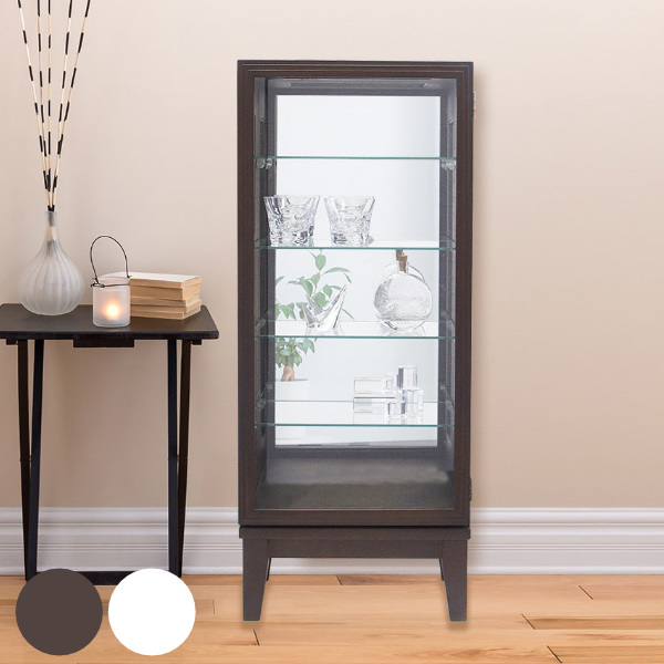 コレクションキャビネット ガラスケース スカーラ1000 幅41cm ( 送料無料 キャビネット コレクション ラック ガラス 収納 シンプル 棚 完成品 ハイタイプ タワー 木製 背面ミラー ディスプレイラック ディスプレイ )